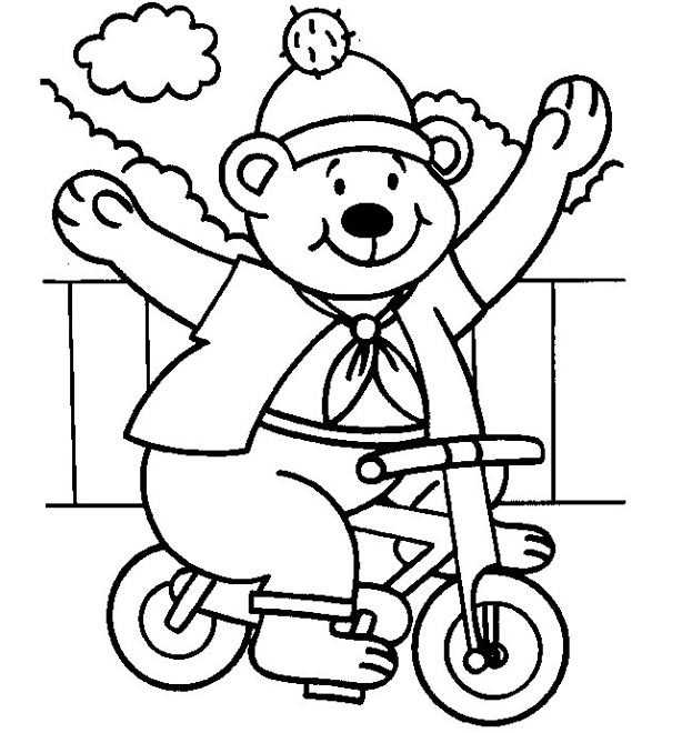 Bear On Bike Coloring Page