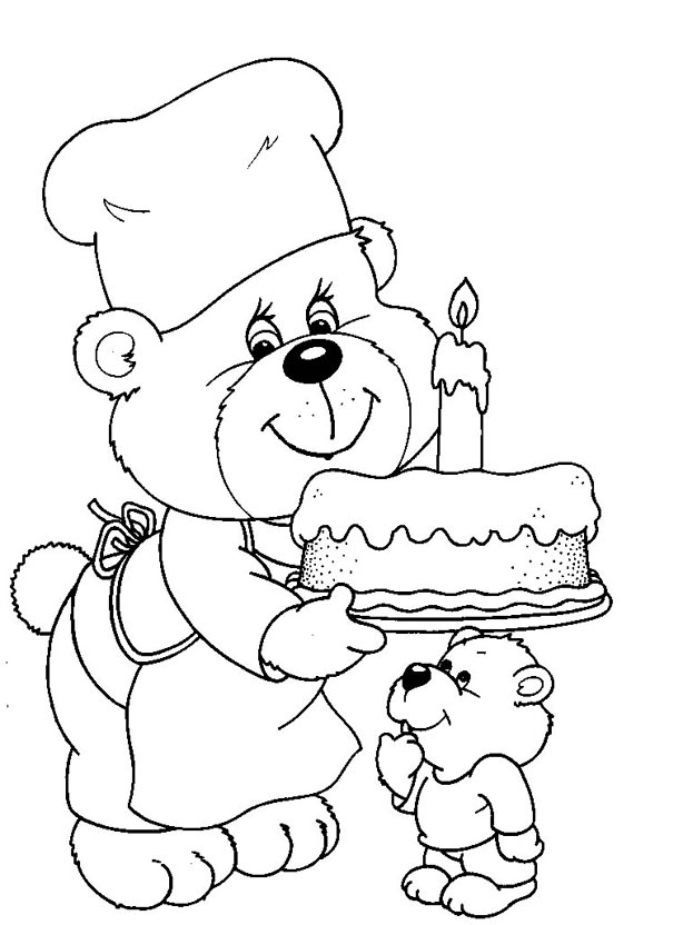 Bears birthday coloring page