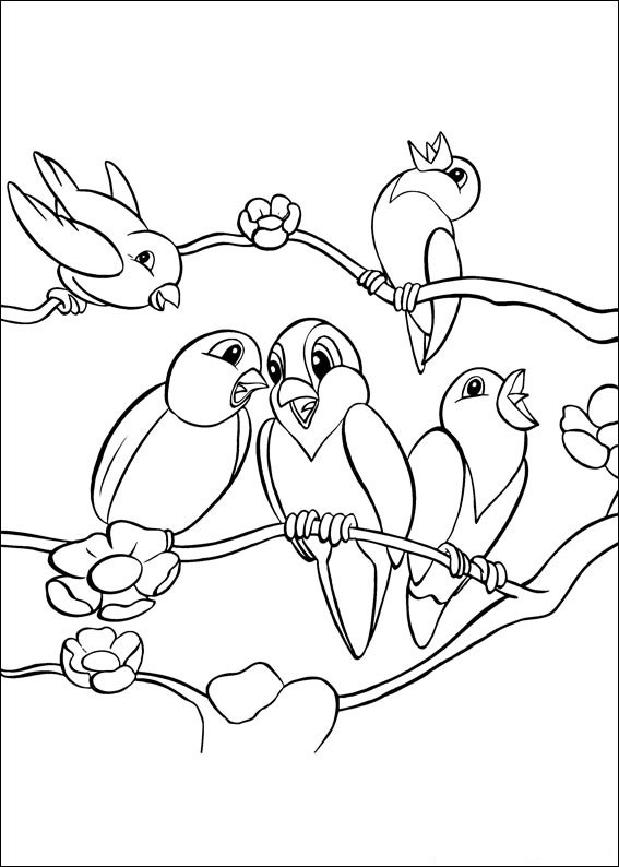 Animal birds singing coloring page