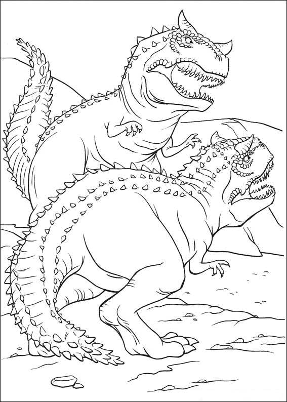 dinosaur fighting coloring page - Coloring Pages Of Dinosaurs