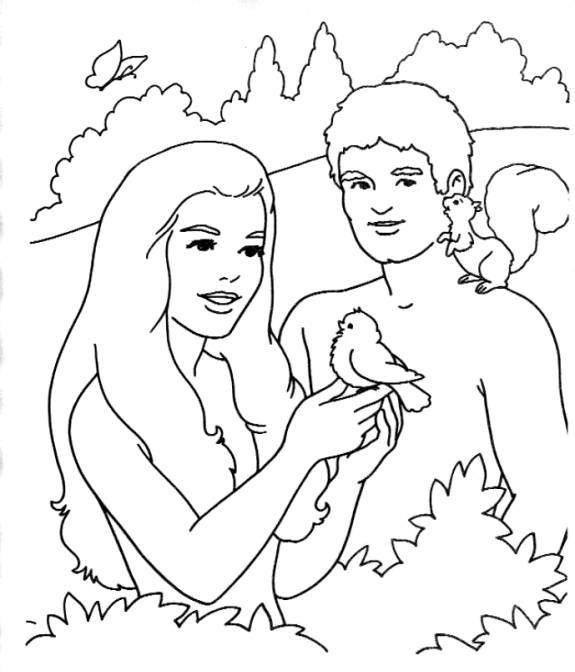 Adam Eve Bible Coloring Pages