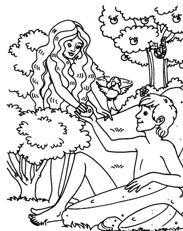 coloring pages adam and eve - photo#6
