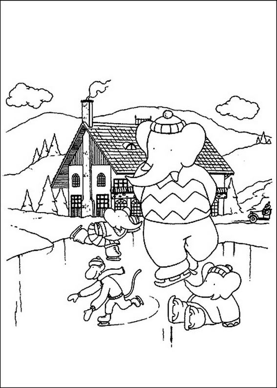 Babar family ice skating coloring page