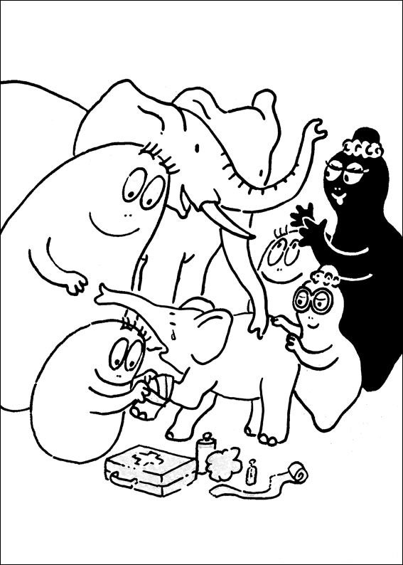 Barbapapa helping coloring page