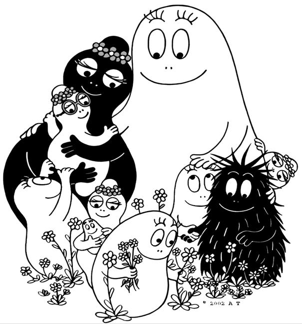 Barbapapa with kids coloring page