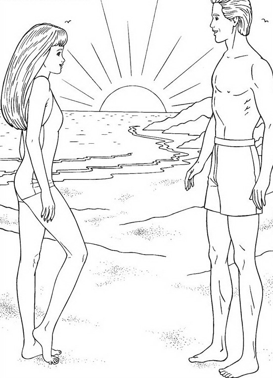 Barbie At The Sea Coloring Page