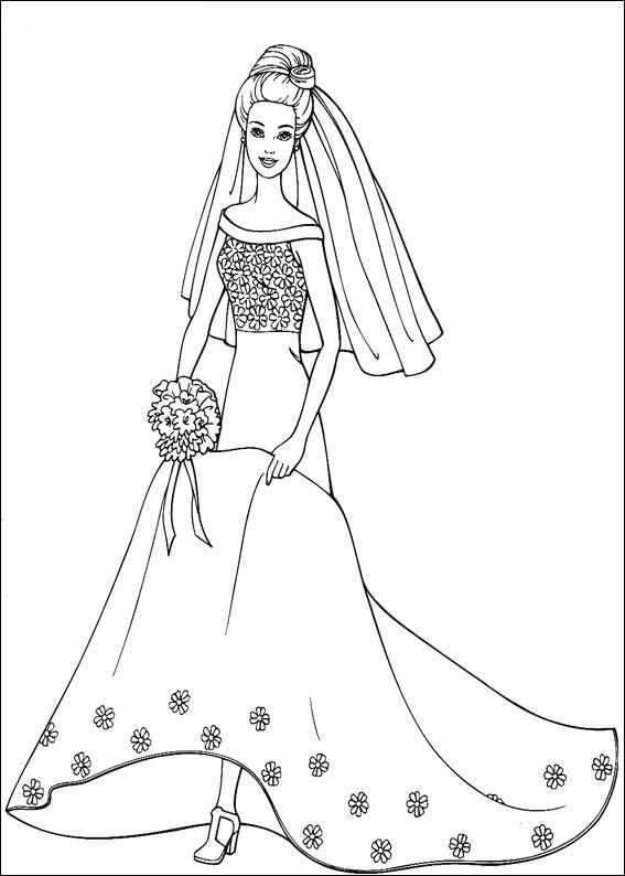 Barbie in dress 2 coloring page for Barbie dress up coloring pages