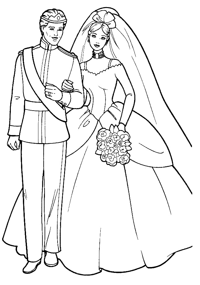 Barbie wedding coloring page for Marriage coloring pages