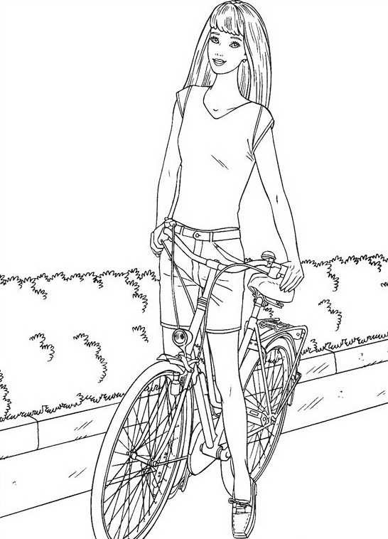 Barbie With Bike Coloring Page