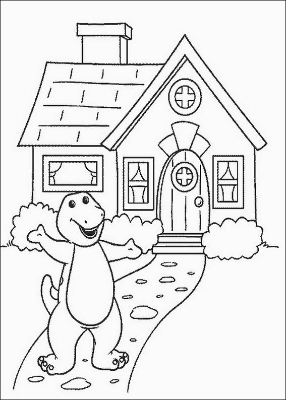 barney house coloring page - Barney Coloring Pages