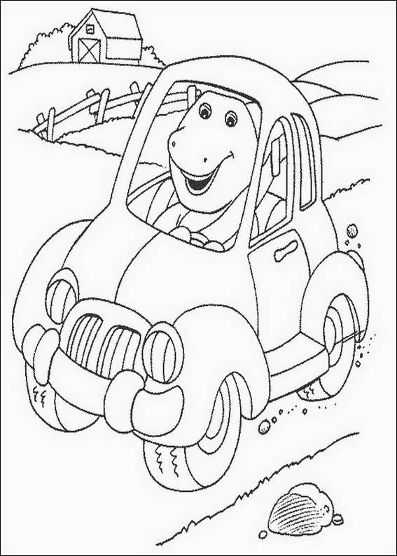 Barney In Car Coloring Page