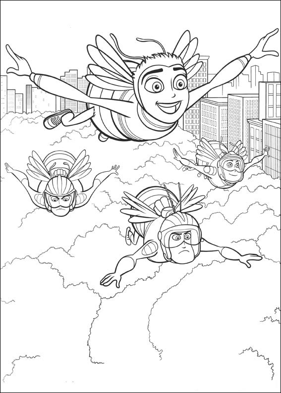 Bee Movie Flying Coloring Page