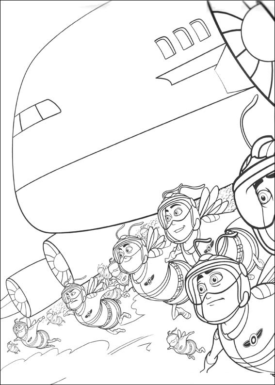 Bee Movie With Airplane Coloring Page