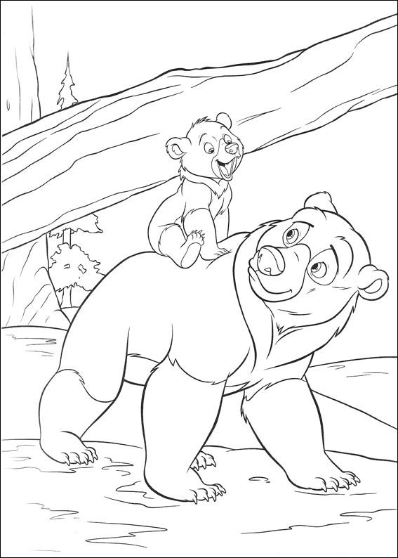 Brother Bear and little bear coloring page