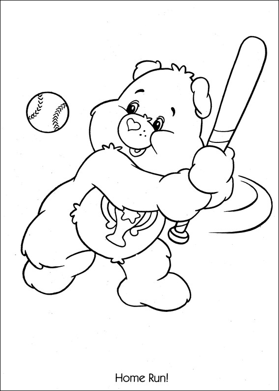 Care Bears baseball home run coloring page