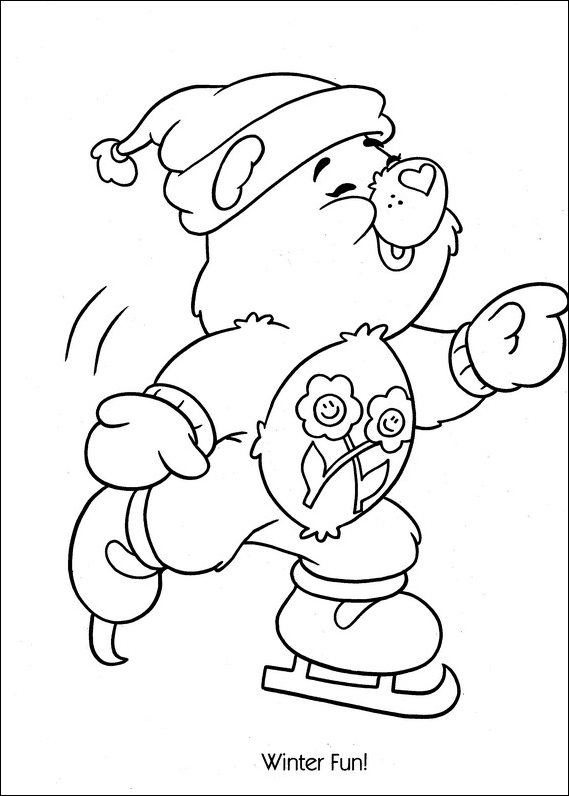 care bears ice skating coloring page