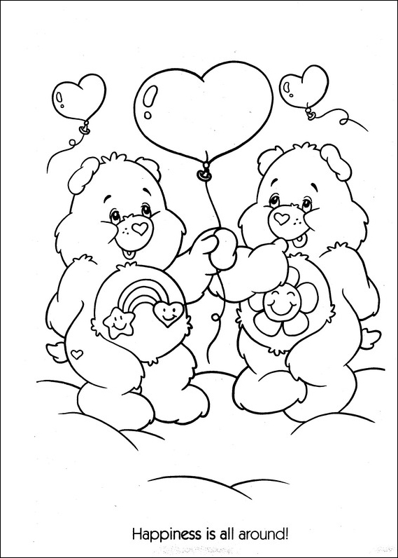 Care Bears in love coloring page