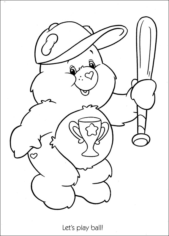Care Bears let s play baseball coloring page