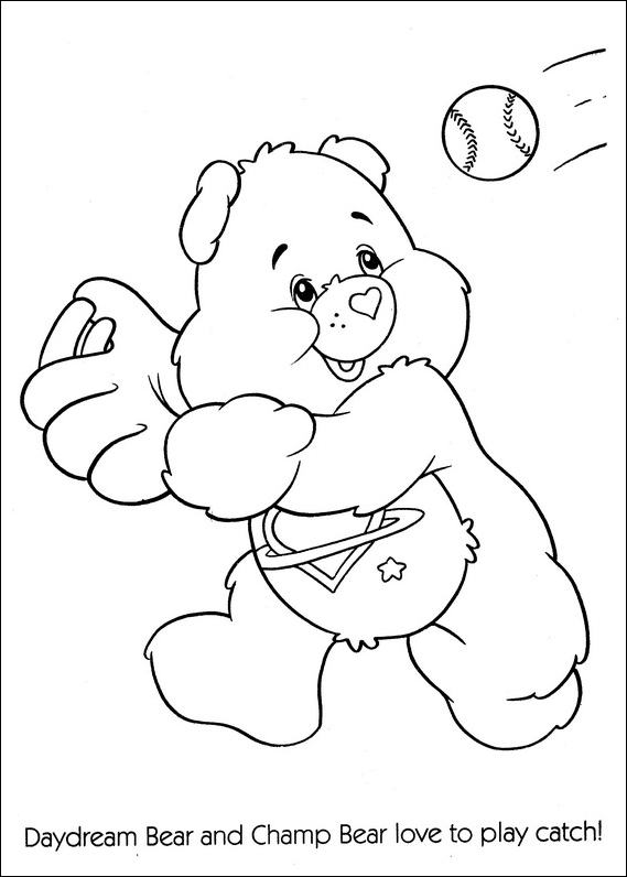 Care Bears Playing Baseball Coloring Page