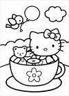 Hello Kitty and teddy bear in tea cup coloring page