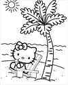 Hello Kitty at the beach coloring page