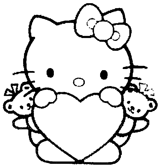 Hello Kitty Heart Coloring Page