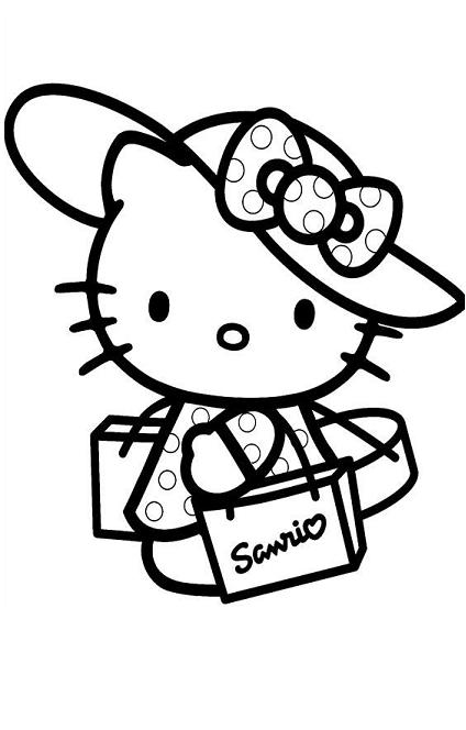 Hello Kitty Shopping Coloring Page
