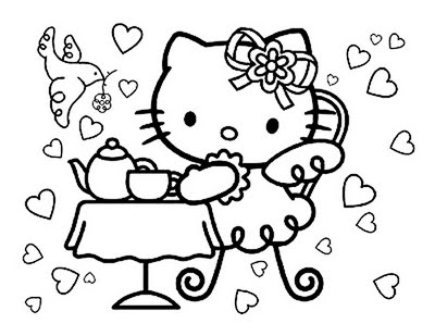 hello kitty birthday card printable free az coloring pages coloring sheets kids pinterest hello kitty and kitty - Colouring Pages Of Hello Kitty