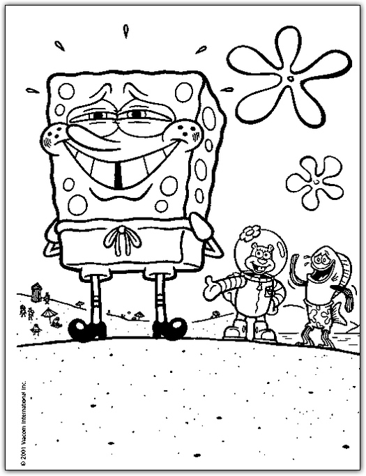 spongebob and friends coloring page