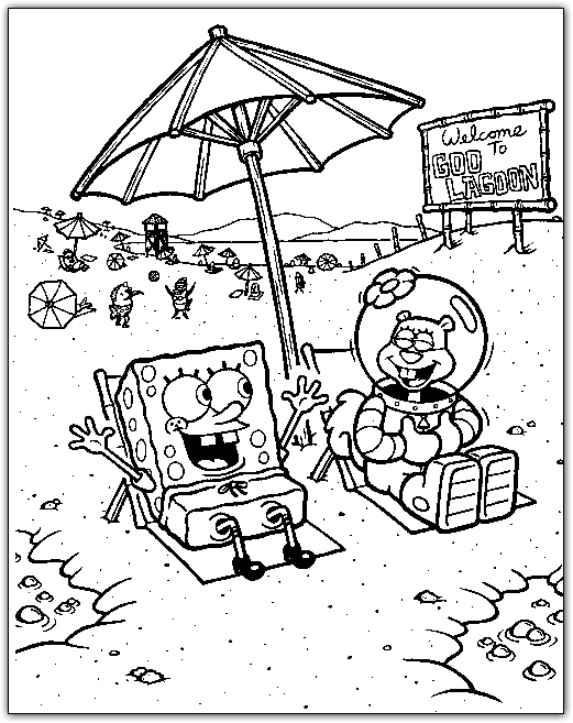 spongebob and sandy on the beach coloring page