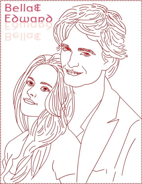 twilight edward bella draw 3 coloring page - Twilight Coloring Pages Print