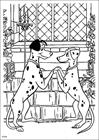 101 Dalmatians holding hands coloring page