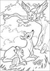 Bambi and mom and owl coloring page