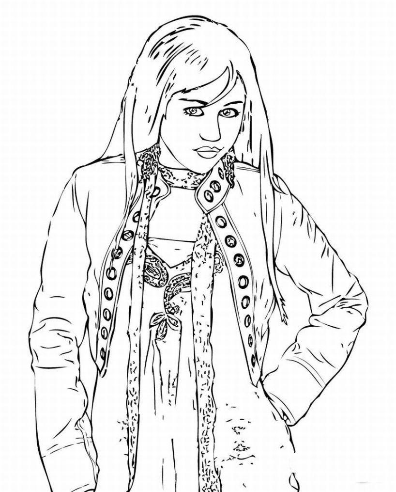 hannah montana miley cyrus 10 coloring page