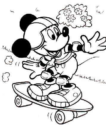 Mickey Mouse Skateboarding Coloring Page