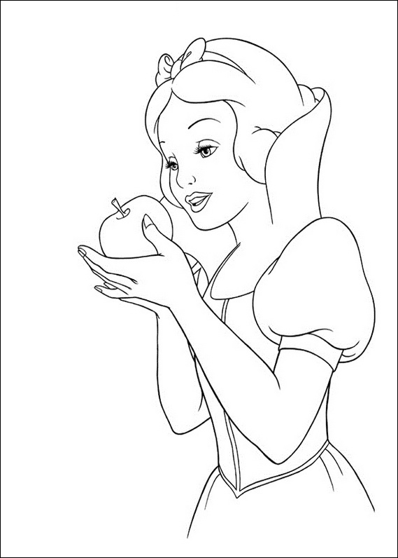 Snow White apple coloring page