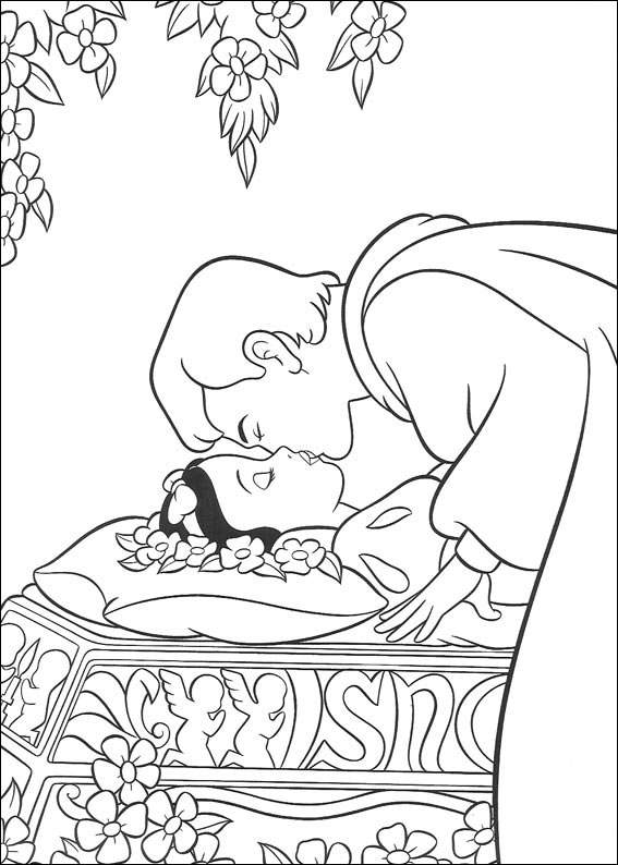 Snow White kiss coloring page