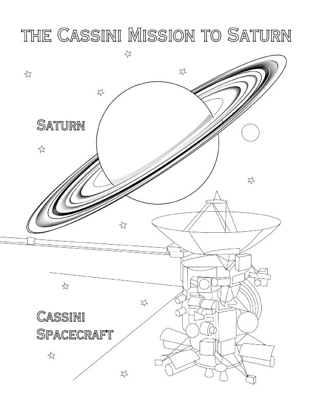 Cassini spacecraft mission to Saturn coloring page