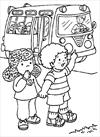 Girl and boy waiting for the bus coloring page