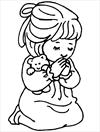 Praying girl coloring page