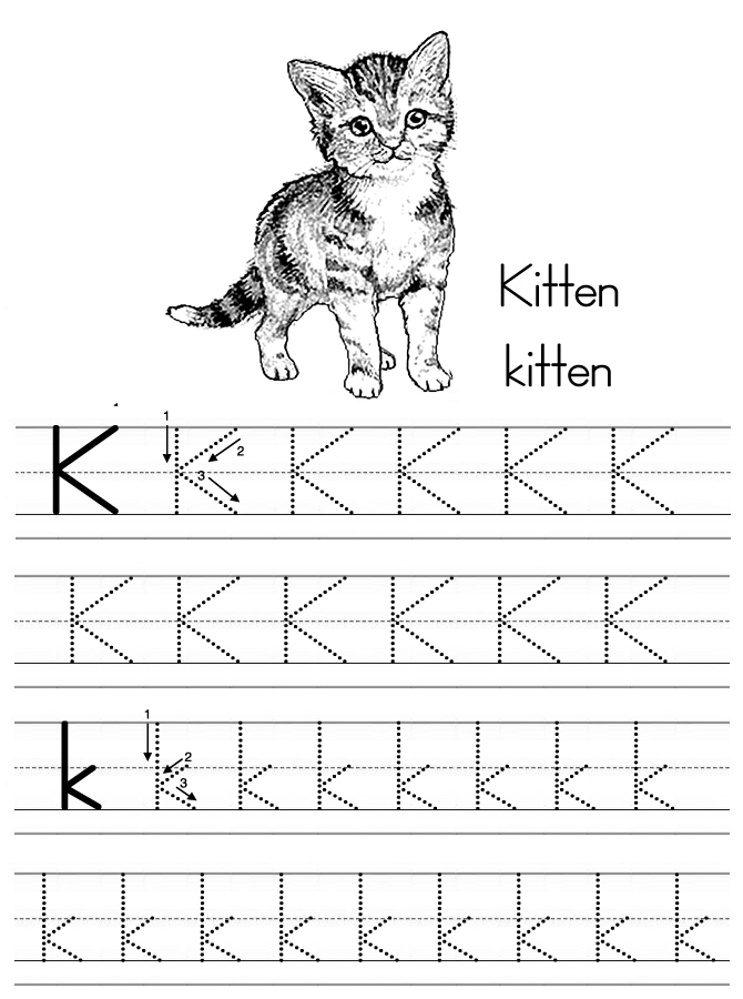 k is for kitten coloring pages - photo #9