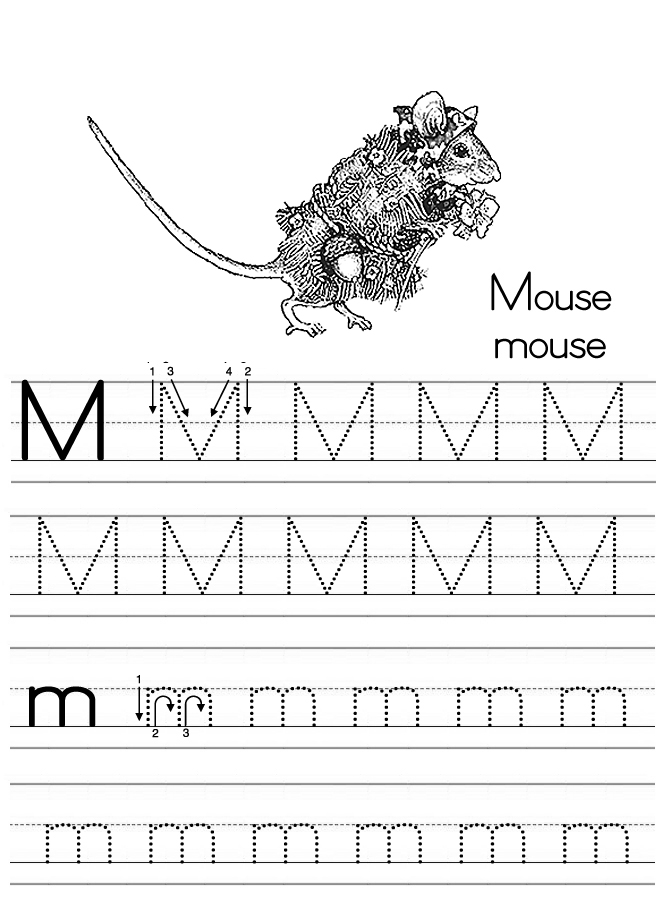Alphabet ABC letter M Mouse coloring page