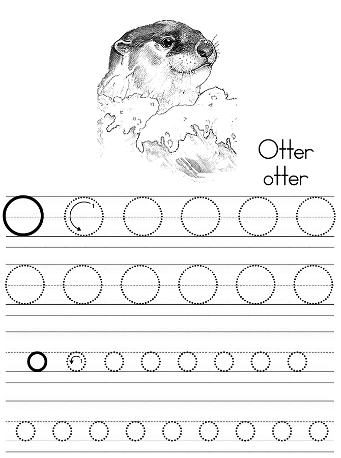 alphabet abc letter o otter coloring page