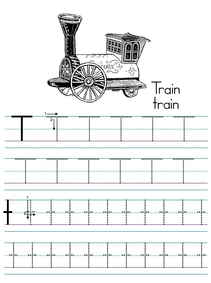 Alphabet ABC Letter T Train Coloring Page