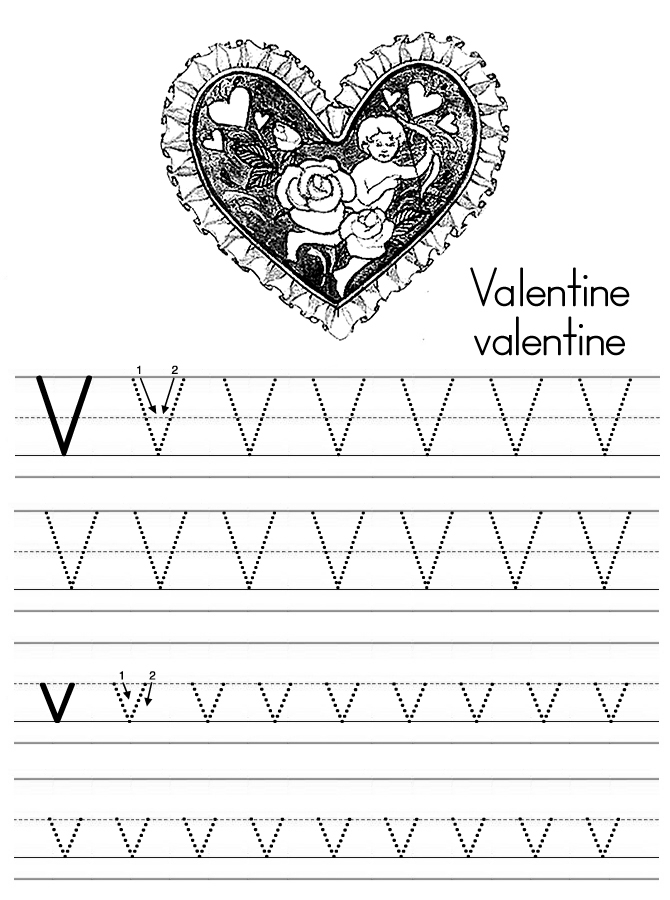 v is for valentine coloring pages - photo #6