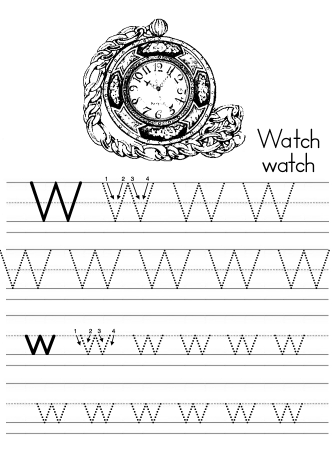 Alphabet ABC letter W Watch coloring page