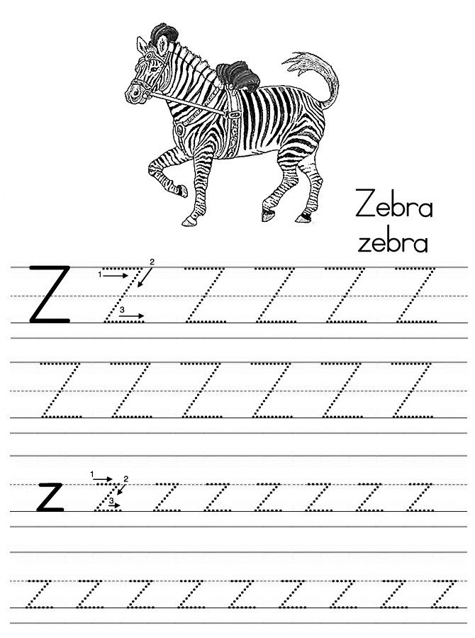 z is for zebra coloring pages - photo #23