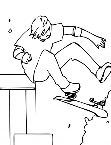 Skateboarding 5 coloring page