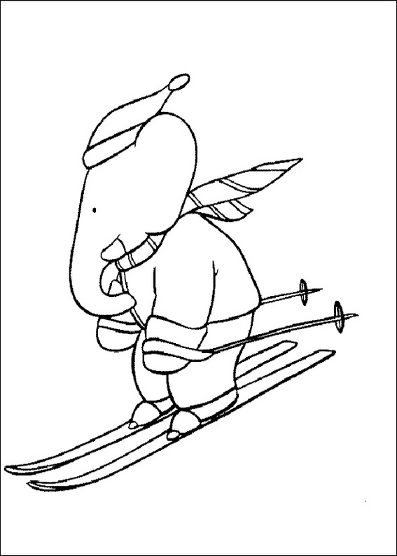 Ski By Babar Coloring Page
