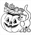 Halloween cat 3 coloring page